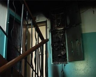 Пожар на лестничной площадке