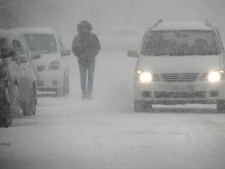 Снегопад парализовал вчера транспортное движение в Уссурийске