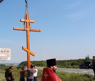 Православный поклонный крест установили на въезде в Уссурийск