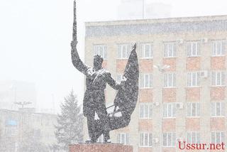 Сильный снег продлится до вечера сегодняшнего дня в Уссурийске