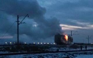 В Уссурийске сгорел рефрижераторный вагон